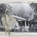 """The Oldest Home, No. 1"" materials: newspaper, black and white print, embroidery thread; dimensions: 2.5' x 3.5'"