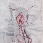 External Genitalia, embroidery and drawing on mixed paper, approx 8x10, 2016