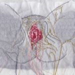 Nerves of Perineum and External Genitalia Approx 8x10, embroidery and drawing on mixed paper, 2016